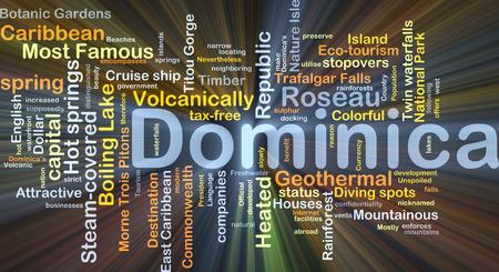 Achtergrond concept wordcloud illustratie van Dominica gloeiende licht Stockfoto