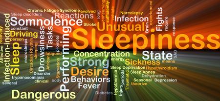 Achtergrond concept wordcloud illustratie van slaperigheid gloeiende licht
