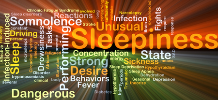 somnolence: Background concept wordcloud illustration of sleepiness glowing light Stock Photo
