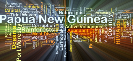 Achtergrond concept wordcloud illustratie van Papoea-Nieuw-Guinea gloeiende licht Stockfoto