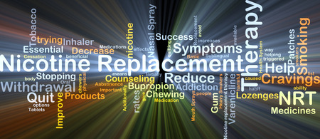 nicotine: Background concept wordcloud illustration of nicotine replacement therapy NRT glowing light