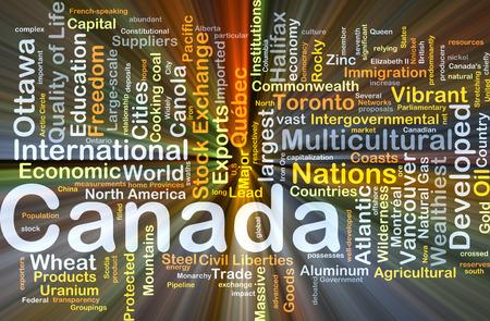 Achtergrond concept wordcloud illustratie van Canada gloeiende licht