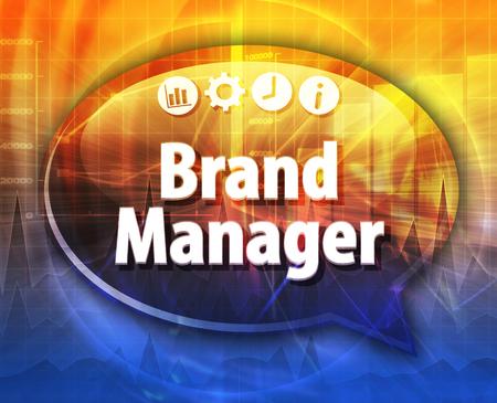 Tekstballon dialoogvenster illustratie van zakelijke termijn zegt Brand Manager