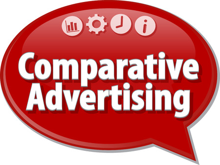 terminology: Speech bubble dialog illustration of business term saying Comparative Advertising Stock Photo