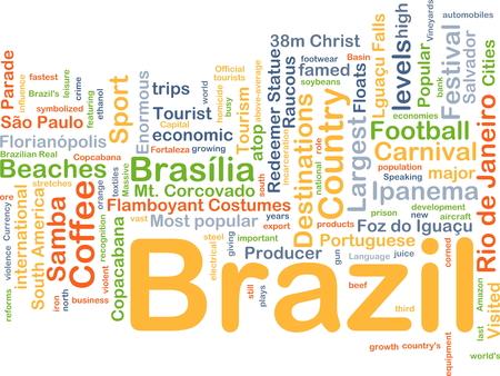 Achtergrond concept wordcloud illustratie van Brazilië