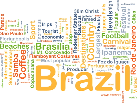 atop: Background concept wordcloud illustration of Brazil