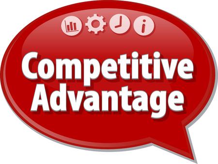 advantage: Speech bubble dialog illustration of business term saying Competitive Advantage