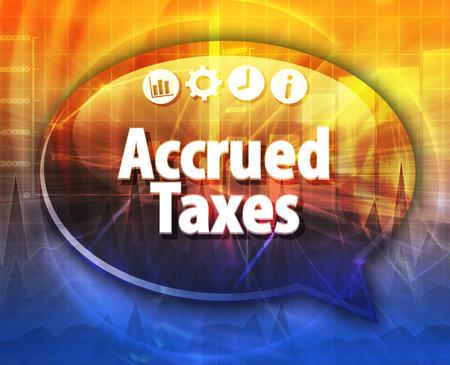 Speech bubble dialoog illustratie van zakelijke term te zeggen lopende belastingen