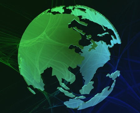 Data transfer over a 3d globe of the world Asia green Redactioneel