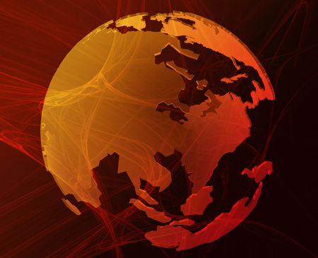 Data transfer over a 3d globe of the world Asia orange Redactioneel