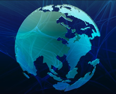 Data transfer over a 3d globe of the world Asia blue