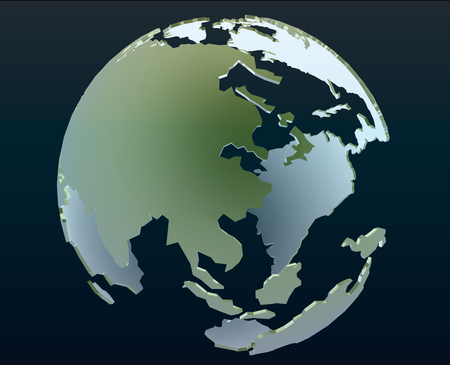3d globe of the world focusing on Asia