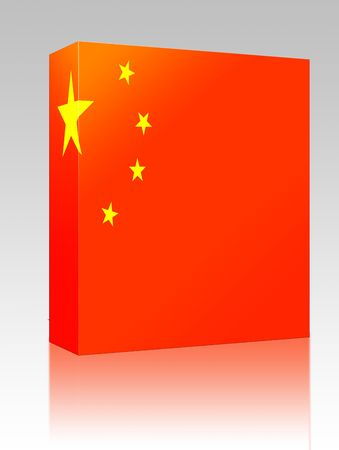 Software package box Flag of China, national symbol illustration clipart