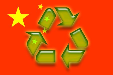 Flag of China, national symbol illustration clipart eco recycling