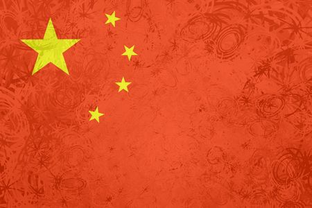 Flag of China, national symbol illustration clipart rough grunge texture Redactioneel