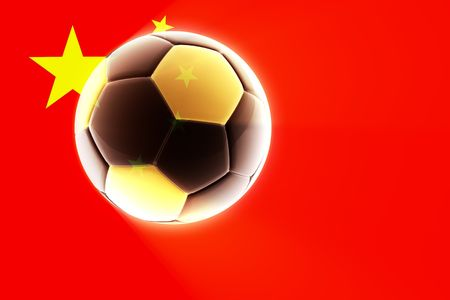 Flag of China, national symbol illustration clipart sports soccer football Redactioneel