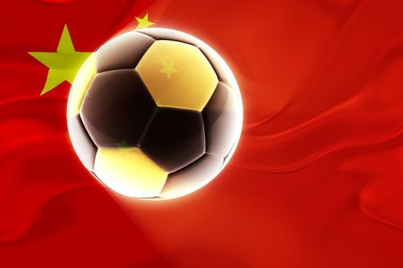 Flag of China, national symbol illustration clipart wavy fabric sports soccer football Redactioneel