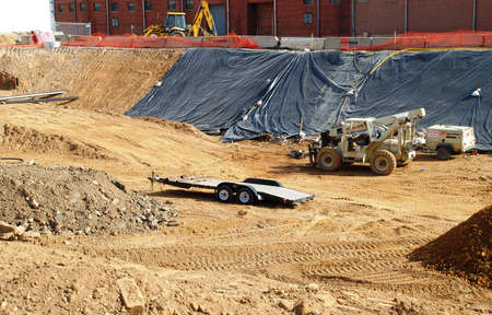 Foundation ditch. Construction.  Here there will be a apartment building.