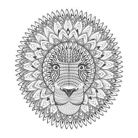 Zentangle Ornate Lion. Tattoo sketch Vector Illustration. Doodle Lion. Lion Head Print Vektorové ilustrace