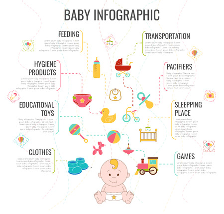 Baby Infographic. Doodle elments. Newborn Vector Illustration