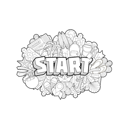 dirty t shirt: Start - Hand Lettering and Doodles Elements Sketch Isoleted Illustration