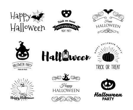Halloween party invitation label templates with holiday symbols - witch hat, bat, pumpkin, ghost, web. Badges set Use for party posters, flyers, cards, invitations, design. Happy Halloween.Isolated labels