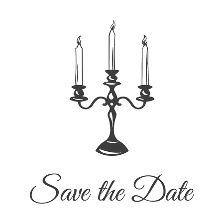date night: Three large candle in a candlestick. Save The Date. Vector Illustration Isolated