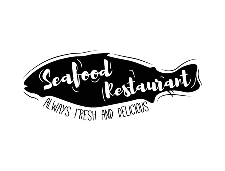 Silhouette of Fish. Seafood Restaurant icon. Seafood and Always Fresh. Vector Illustration