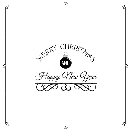 filigree scroll: Merry Christmas, and Happy New Year Card Vector Art. Filigree Scroll. Divider. Ornate Frame Illustration