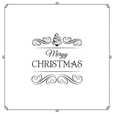 filigree scroll: Merry Christmas, and Happy New Year Card Vector Art. Filigree Scroll. Divider. Ornate Frame. Isolated