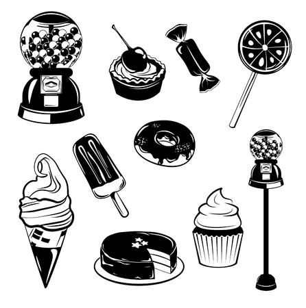 Cono de helado, magdalena, pastel, pastel, donut, caramelo, Lollipop, goma de máquina, Doodle dulce conjunto de elementos aislados en blanco ilustración vectorial