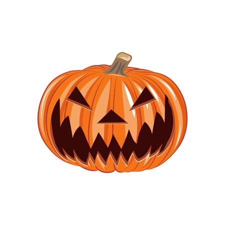 Pumpkin Silhouette Smiling Pumpkin Lantern, Horror, Scary Halloween. Vector Illustration
