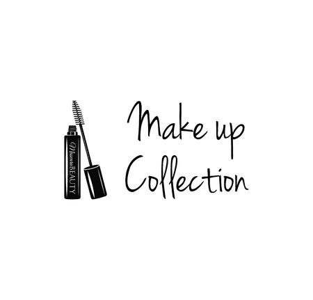 eye makeup: Beauty Salon Label. Mascara for Eyelashes. Eye Makeup. Badge. Make Up Collection. Vector Illustration. Isolated