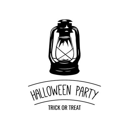 ghost town: Kerosene lantern Halloween Party Badge. Postcard Sample. Vector Illustration