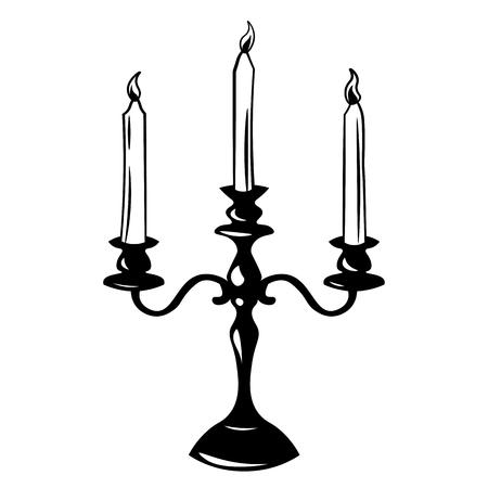 candle holder: Antique Lamp. Retro Candle Holder. Vector Illustration. Retro candlestick isolated on white background Illustration