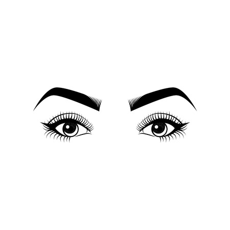 Female Eyes and Eyebrows. Beauty Industry Design Elements Vector Illustration
