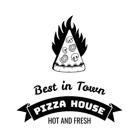 jr: Best in Town Pizza. Italian Food. Food delivery. The Pizza Restaurant. Label jr Badge. Vector Illustration Isolated