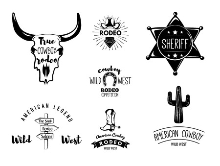 western usa: Wild West. Set of vintage rodeo emblems, labels,  , badges and designed elements. Western USA label about wild west. Vector