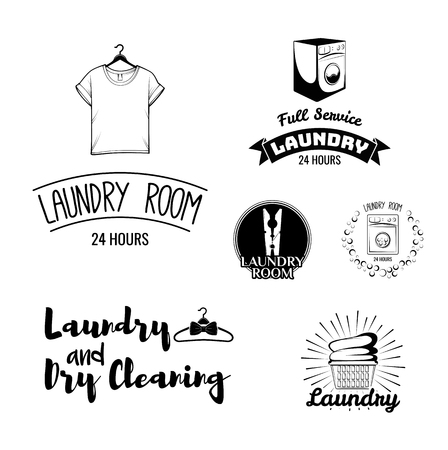 dry cloth: Laundry Room and Dry Cleaning Labels. T-shirt, Washing Machine, wooden cloth peg, linen basket. Vector Illustration