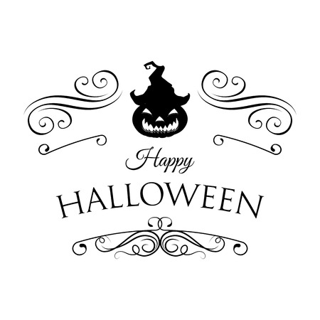frightful: Witch Hat. Smile Pumpkin, Happy Halloween. Filigree scroll and frame divider decorated. Vector Illustration. Isolated Illustration