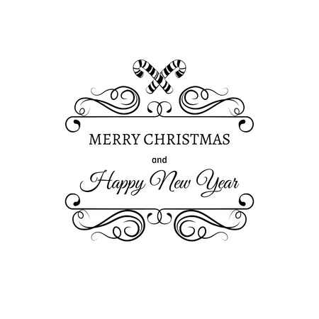 filigree scroll: Merry Christmas And A Happy New Year. Greeting Card. Christmas candy stick. Filigree scroll and frame divider decorated. Ornate Frame. Vector Illustration.