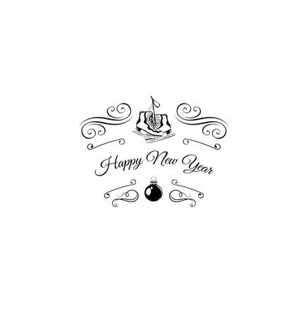 filigree swirl: Winter holidays card with ice skates. Holiday Filigree Swirl Decorated. Happy New Year. Vector Illustration Illustration