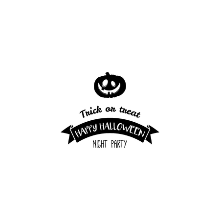 of helloween: Pumpkin Lantern Silhouette. Trick or Treat. Halloween Party Badge. Postcard Sample. Vector Illustration Illustration