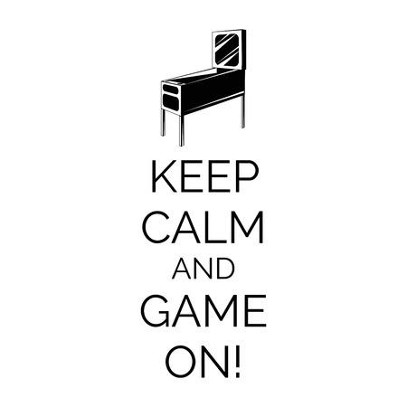 Máquina de pinball. Arcade insignia de habitaciones. Conserve la calma y a jugar. Ilustración del vector. Ilustración de vector