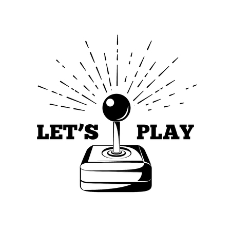 let s: Retro joystick. Let s Play. Arcade Room. vector illustration
