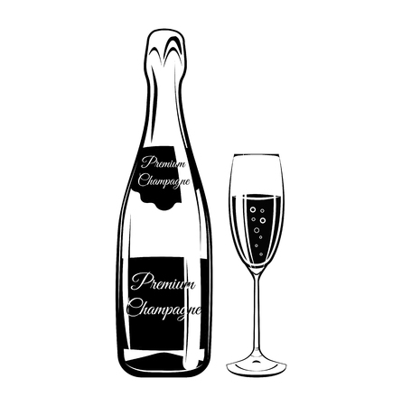 sparkling wine: Sparkling Wine. Champagne Bottle and a Glass. Alcohol Design Element. Drinks. An Isolated Object. Vector Illustration Illustration