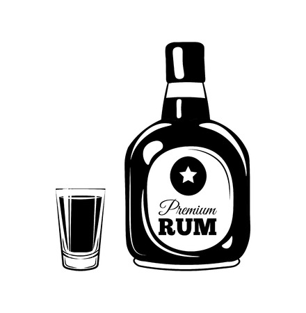 Rum Bottle and a Shot Glass. Alcohol Design Element. Drinks. An Isolated Object. Vector Illustration