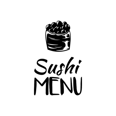 nori: Roll with Caviar. Sushi Menu. Japanese Cuisine. Vector Illustration