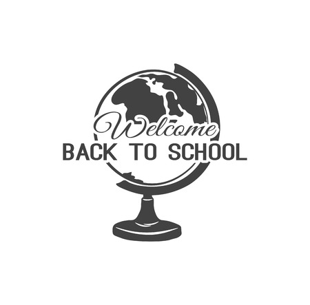 Back To School. Globe. Earth model. Vector illustration. Isolated on White Background