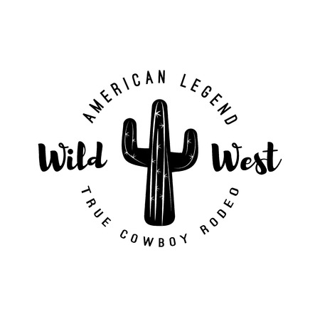 Cactus. AmericanLegend. Wild West Label. Western Illustration. Isolated On White Background 일러스트